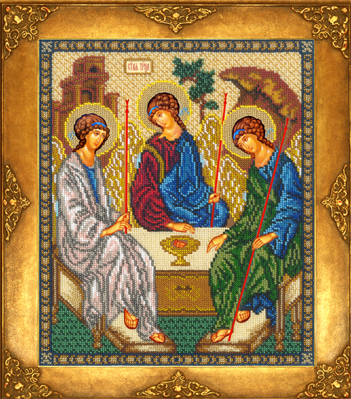 Вышивка бисером иконы святой троицы